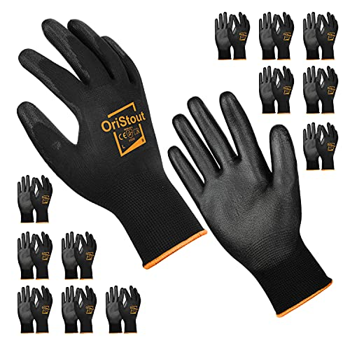 OriStout 12 Pairs Thin Work Gloves Bulk with Grip Lightweight PU Coated Working Gloves Pack General Purpose Odorless, for Warehouse, Yard Work, DIY, Gardening, Construction (Size L/9)