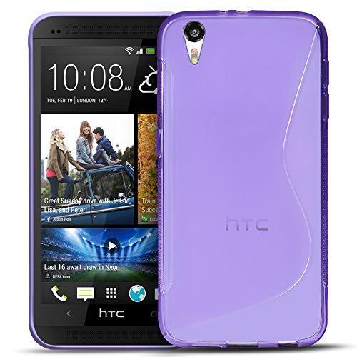 Conie SC6030 S Line Hülle Kompatibel mit HTC Desire Eye, TPU Smartphone Hülle Transparent Matt rutschfeste Oberfläche für Desire Eye Rückseite Design Lila