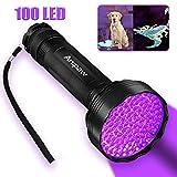 Anipaw Black Light Flashlight, Portable 100 LED Light Blacklight Detector for Pet (Dog/Cat) Urine Detection, Pet Stains, Bed Bug, Matching with Pet Odor Eliminator