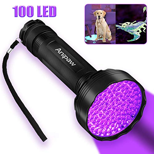 Anipaw Black Light Flashlight, 100 LED 395 nM Ultraviolet Blacklight Flashlights Detector for Dog Urine For Dog/Cat Urine,Dry Stains,Bed Bug, Matching with Pet Odor Eliminator