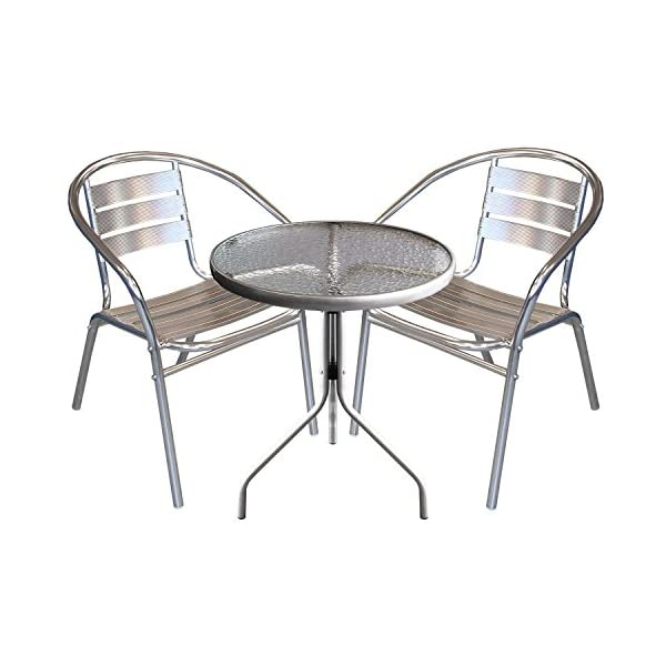 3tlg Terrassenmöbel Balkonmöbel Bistro Set Bistrotisch Ø60x70cm mit transparenter geriffelter Tischglasplatte + 2x…
