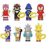 BAS Super Sonic Figuras De Acción Muñecos Sonic Juguete para Niños Shadow The Hedgehog Colección Sliver Tails Amy Móvil Estatua Decoración Modelo Regalo De Cumpleaños 8 Packs