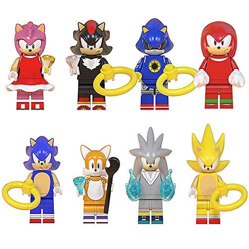 bas Sonic Anime Figuren Menschen-Spielfiguren Super Sonic Kuscheltier Shadow Spielfiguren-Spielesets Teirusu Shadow The Hedgehog Actionfiguren für Kinder Beweglich Spielzeug Geschenk 8 Packs