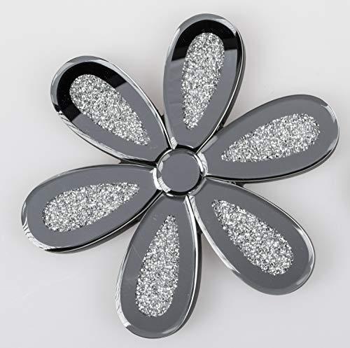 Formano Wanddeko Brilliant Blume Dekoobjekt Glas Silber in 3 verschiedenen Größen erhältlich (Ø 25cm)