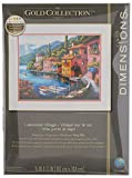 """DIMENSIONS Gold Collection Lakeside Village Counted Cross Stitch Kit-15""""X12"""" 16 Count"""
