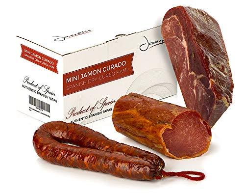 Szynka Serrano Dojrzewająca Bez Kości 1 Kg + Lomo (Schab wieprzowy) Duroc Naturalny 250 g + Chorizo Riojano 200 g - Hiszpańska Szynka Jamon Serrano Jamonprive