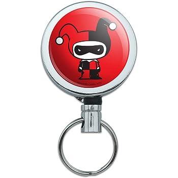 Harley Quinn Cute Chibi Character Heart Lanyard Retractable Reel Badge ID Card Holder