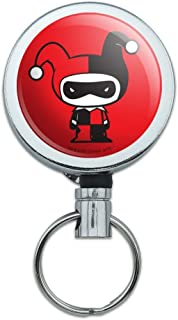 Harley Quinn Cute Chibi Character Heavy Duty Metal Retractable Reel ID Badge Key Card Tag Holder with Belt Clip