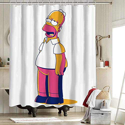 Sitcom Cartoon Homer Simpson Badezimmer Duschvorhang Liner Home Decor Duschvorhang The Simpsons Cartoon TV Thema Homer Bart Simpson Pants 137 x 157 cm