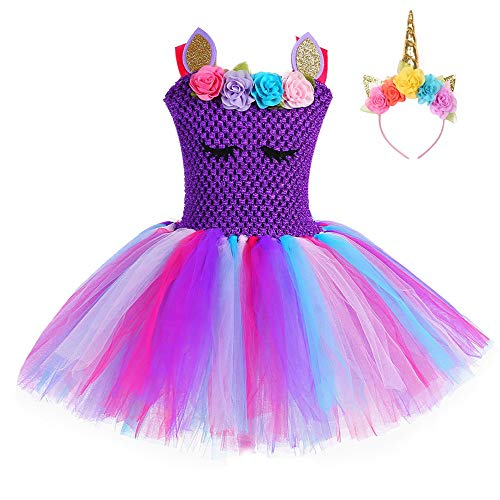 FONLAM Vestido de Bautizo Fiesta Niña Disfraz de Unicornio Princesa Tutú Vestido Infantil Flores Carnaval Niña (2XL 9-10 Años, Morado Oscuro)