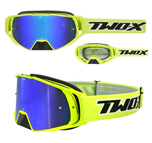 TWO-X Gafas de cross Rocket, cristal de reflejo azul - Gafas MX, protección de nariz para motocross. Gafas de espejo Enduro. Gafas para moto, antiarañazos, gafas protectoras MX