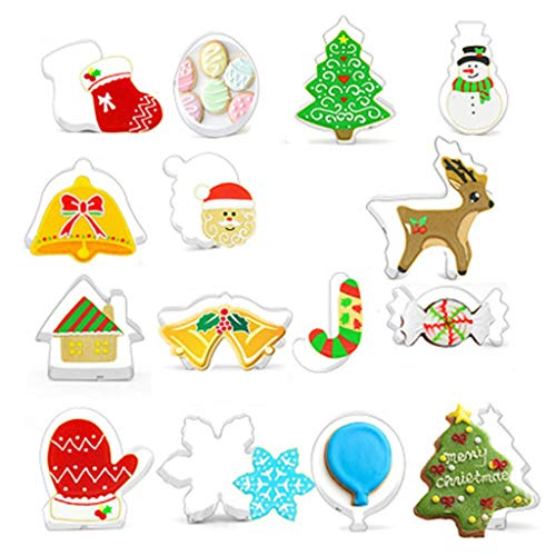 Copercn 15pcs Christmas Cutter Decorating Mould Cake Frame Stainless Steel Cookies Mold Kitchen Bake Tools Ideal For House Outdoor Christmas Bar Family Party Decor