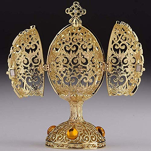 Keren Kopal Yellow Faberge Egg Trinket Box Russian Egg Decorated with Swarovski Crystals Collectors Easter Egg