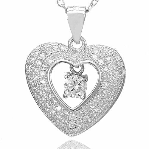 Collana Morella donna argento con ciondolo cuore argento 925 rodinato con zirconi bianchi 45 cm