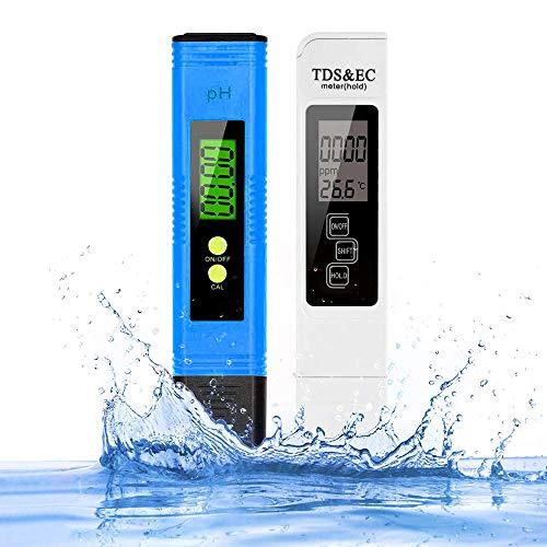 pH Messgerät, pH TDS EC und Temperatur 4 in 1 Set, Wasserqualität Tester(ATC) Leitwertmessgerät mit hoher Genauigkeit und LCD Display, pH Tester/TDS Messgerät für Trinkwasser Schwimmbad Aquarium