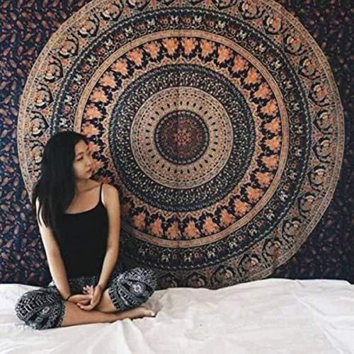 KHKJ Tapiz de Mandala Blanco Hippie Colgante de Pared Colcha Bohemia Funda de sofá decoración Mandala DIY hogar A13 150x130cm