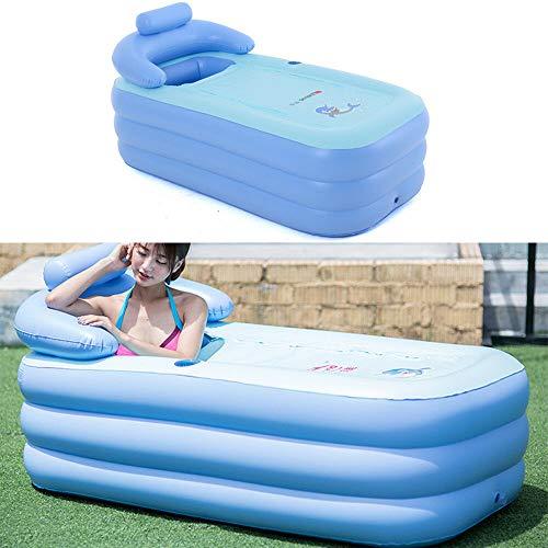 Bañera hinchable de PVC, portátil, plegable, para adultos, bañera de spa y niños, piscina hinchable (azul)