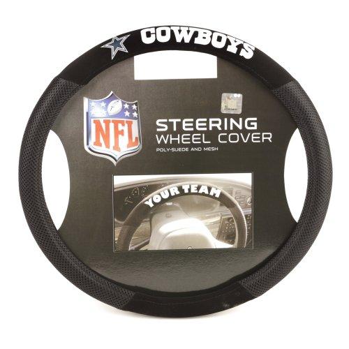 Fremont Die NFL Dallas Cowboys Poly-Suede Steering Wheel Cover, Fits Most Standard Size Steering Wheels, Black/Team Colors