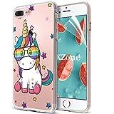 OKZone Cover iPhone 8 Plus /7 Plus [con Pellicola Proteggi Schermo], Custodia Gel Trasparente Silicone TPU Cover Protettiva Compatibile con Apple iPhone 8 Plus /7 Plus 5,5 Pollici (Unicorno)