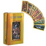 Cartas de Tarot Doradas Fáciles, 78 Gold Tarot Cards Deck Juego de Mesa Interactivo Familiar en Inglés Tarjeta de Tarot, Tarjetas de Papel Holograma con Efecto Flash para Principiantes