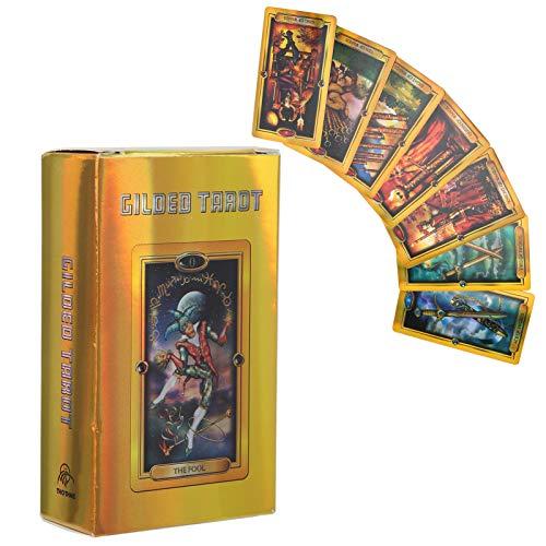 Einfache Vergoldete Tarotkarten, 78 Gold Tarot Karten Deck Englisch Sprache Familie Interaktives Brettspiel Tarot Karte, Hologrammpapierkarten mit Flash-Effekt für Anfänger
