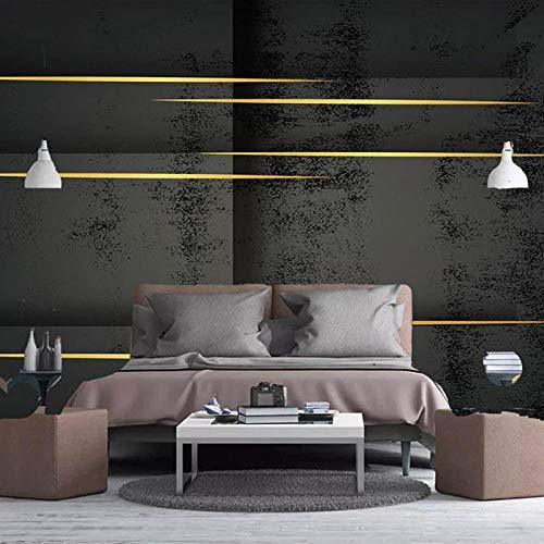 XIAOHUKK 3D self-Adhesive Wallpaper Large Mural Cement Gray Wallpaper Geometric Golden line Art Mural Wallpaper Decorative Mural Wallpaper Home Decoration