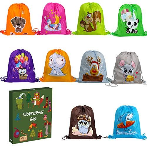 Anpro Kit de 10 Bolsos para Fiestas Infantil,Bolsas de Cuerdas para Niños,Mochila con Cordón,Regalo para Fiestas,Cumpleaños,Navidad