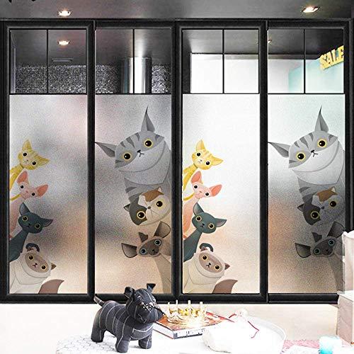LXD Sonnenschutz Sichtschutzglas Aufkleber, Cartoon Cat Frosted statische Fensterglasfolie, UV-Schutz, wiederverwendbare Beschattung Aufkleber, Fenster Schiebetür Fenster, 60 * 90 cm,80 * 120CM,
