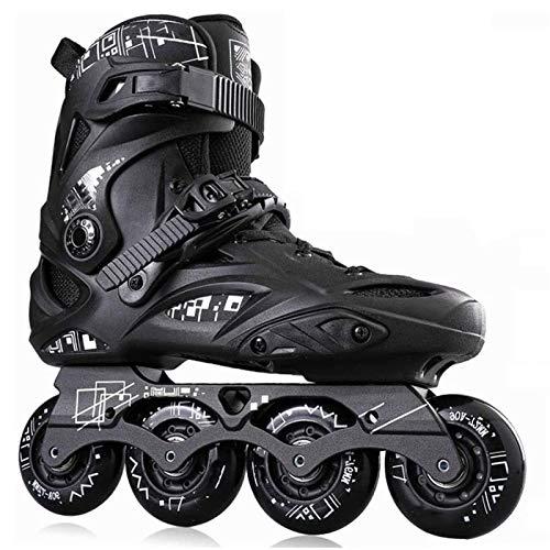 Patines en línea Rodillo Ajustable Rodillo de profesional Patines Patines de 3 ruedas 110MM ruedas for adultos de una hilera de patines Full Flash Patines Negro y negro patines en línea Protección Com