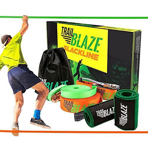 Trailblaze - Complete Slackline Kit 60 Feet, Kids Beginners Slackline Set with Training Line, Ratchet Cover, Tree Protectors, Arm Trainer, Carry Bag, Box and Instruction Manual