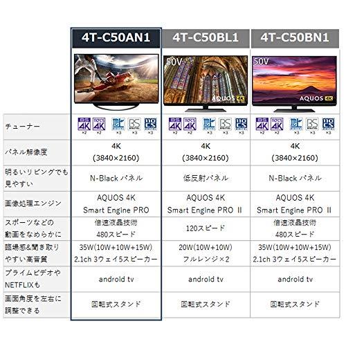 『シャープ 50V型 4Kチューナー内蔵 液晶 テレビ AQUOS 4T-C50AN1 スマートテレビ(Android TV) N-Blackパネル HDR対応』の2枚目の画像