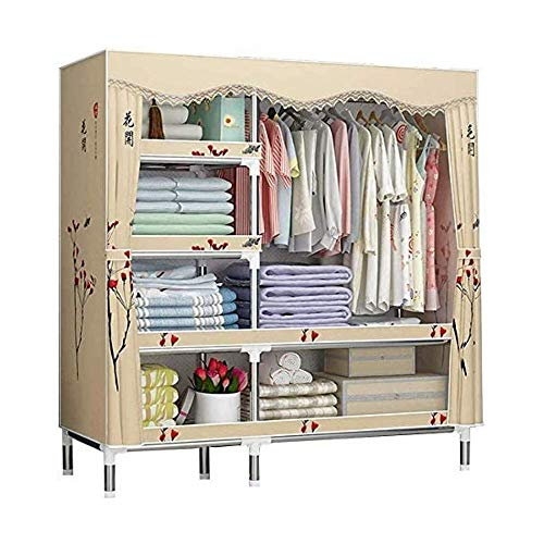 CXVBVNGHDF Cloth Wardrobe, Canvas Wardrobes Folding Wardrobes Steel Tube Bold Reinforced Used for Clothes, Shoes, Toys, Luggage, Living Room, Bedroom,L