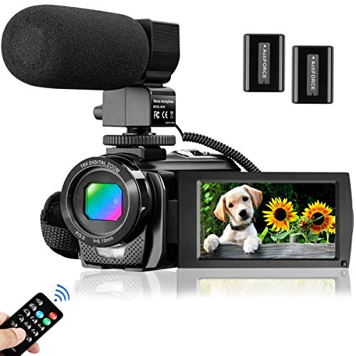 Video Camera Camcorder for YouTube, Aasonida Digital Vlogging Camera FHD 1080P 30FPS 24MP 3.0 Inch 270° Rotation Screen Video Recorder with Microphone, Remote Control, 2 Batteries
