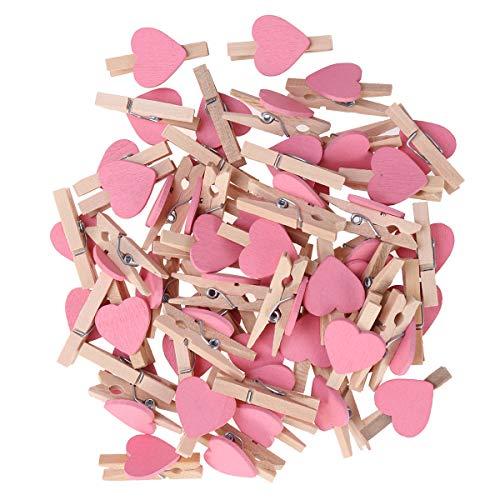 TOYANDONA 50pcs Mini Mollette Legno del Fumetto Amore Cuore di Fissaggio per Foto Carta Pittura Decorazione della Festa (Rosa)