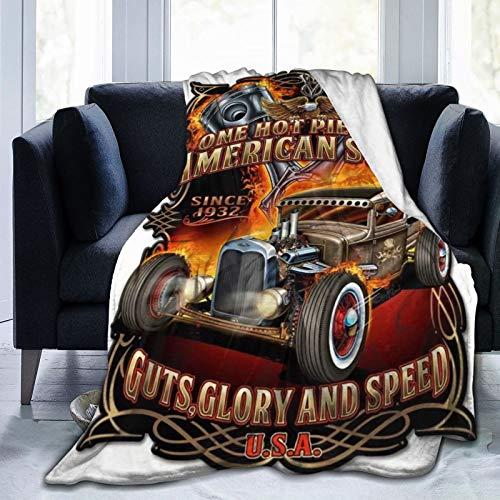 Harley Davidson Manta de manta ligera para niños y adultos, suave y cálida manta de franela para cama, sofá, camping y viajes
