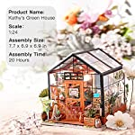 """Rolife DIY Dollhouse Miniatures Craft Kits for Adults (Kathy's Green House) 8 7.7"""" X 6.9"""" X 6.9"""" assembled, recommended age is 14 years or older. TOP GIFT for ADULTS AND KIDS.Ideal Christmas, birthday, or holiday gift for a gardener, hobbyist, or craftsperson. Great for a STEAM related gift too! Create an intricately detailed wooden flower house to capture and preserve the beauty of nature. The time spent building this miniature DIY greenhouse is as enjoyable as it is visually stunning."""