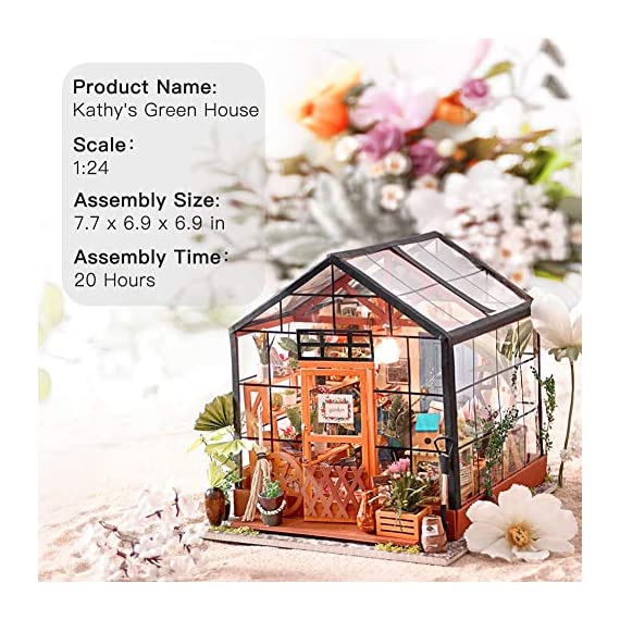 """Rolife DIY Dollhouse Miniatures Craft Kits for Adults (Kathy's Green House) 2 7.7"""" X 6.9"""" X 6.9"""" assembled, recommended age is 14 years or older. TOP GIFT for ADULTS AND KIDS.Ideal Christmas, birthday, or holiday gift for a gardener, hobbyist, or craftsperson. Great for a STEAM related gift too! Create an intricately detailed wooden flower house to capture and preserve the beauty of nature. The time spent building this miniature DIY greenhouse is as enjoyable as it is visually stunning."""