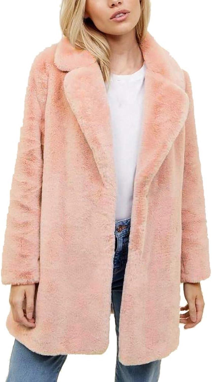 FreshZone Women Parka Cardigan Long Overcoat Warm Thickening Coat Jacket Faux Mink Outwear Fall Winter