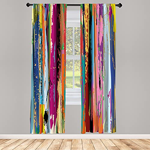 Ambesonne Abstract Window Curtain, Multicolored Expressionist Work of Art Vibrant Rainbow Design Tainted Pattern, Lightweight Decorative Panels Set of 2 and Rod Pocket, 56 x 95, Rainbow Color
