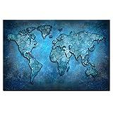 SADHAF Bleu Carte du Monde Impression sur Toile Décoration de La Maison Accessoires Toile Machine d'impression Décoration de La Maison Chambre Fille A3 50x70 cm