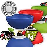 Diábolo con Cojinetes Triples  Palos de Aluminio (Plegable)  Video en línea  En una Lata Elegante  El Definitivo Set de Diábolo  por Mister M