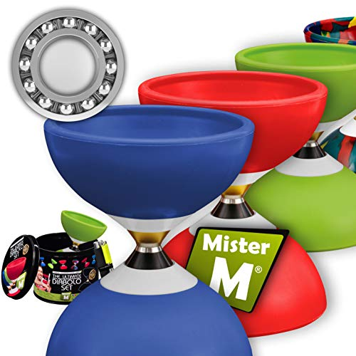 Mister M ✓ Das Ultimative Kugellager Diabolo Set ✓ Jonglier Kugellager Diabolo ✓ Alu Stöcke ✓ Online Lern-Video ✓ Geschenkbox