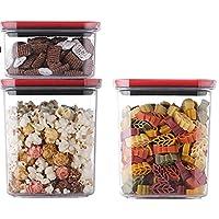 保存容器・キャニスター ストレージジャー、 マルチサイズの食料品ボックス、 大容量密閉タンクセット、 キッチン冷蔵庫収納ボトル (Color : RED-0.6L+1.4L*2)