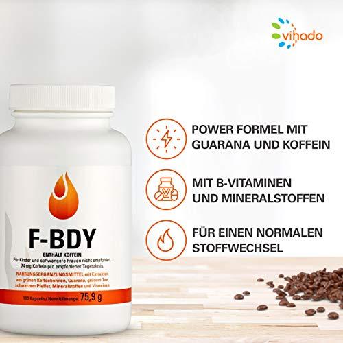 Vihado F-BRN – Grüne Kaffebohnen, Grüner Tee, Guarana, 100 Kapseln, 1er Pack (1 x 75,9 g) - 4