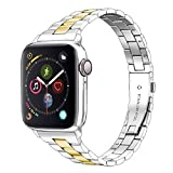 Aizilasa Stainless Steel Band Compatible with Apple Watch Band 40mm 44mm Series 5/4 38mm 42mm Series 3/2/1 for Women Men, Replacement for iWatch Bands Wristbands Strap (Silver & Gold, 38mm/40mm)