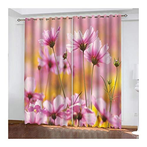Knbob Polyester Gardinen Rosa Blumen Natürliche Landschaft Küchengardine Zweiteilig Größe 264x160CM