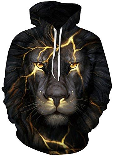 AMOMA Jungen Digitaldruck Kapuzenpullover Tops 3D digital Print Hoodie 2017Design Pullover(L/XL,GoldLion)