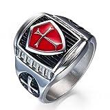 Grhose Men's Stainless Steel Ring Knight ring Templar Ring biker Crusader Cross masonic Red Size 12