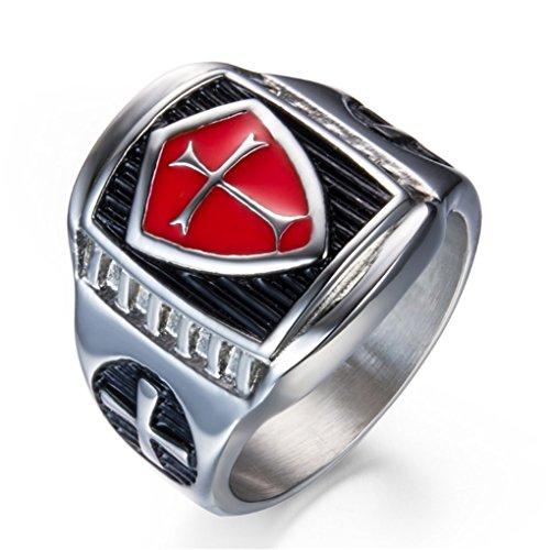 Grhose Men's Stainless Steel Ring Knight ring Templar Ring biker Crusader Cross masonic Red Size 8