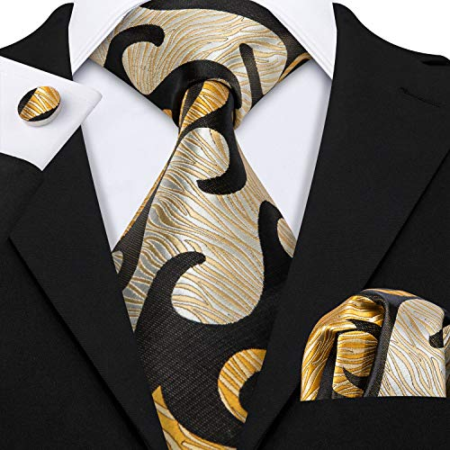Barry.Wang Dark Brown Gold Designer Necktie Set Woven